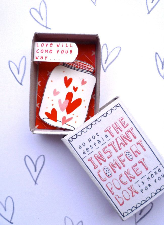 Absolutely brilliant! Instant Comfort Pocket Box - Love in a jar, by Kim Welling via Etsy.