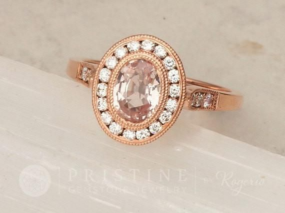 Peach Sapphire Engagement Ring In Art Deco Rose Gold Diamond Halo Wedding Mount Main Stone Natural Weight Cts Size Oval Clarity Very Good