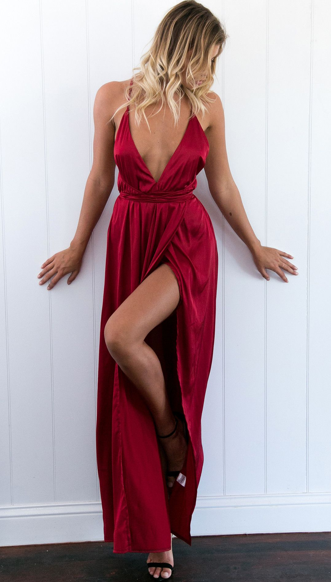 c775f689a87 Burgundy High Slit Prom Dress