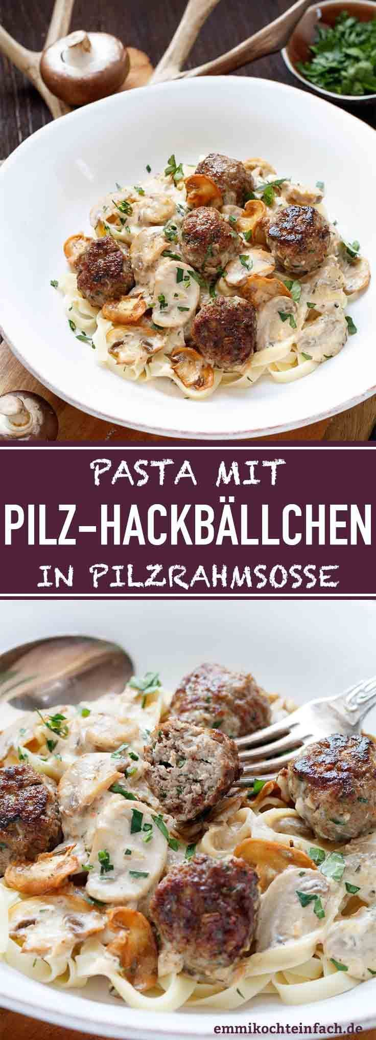 Photo of Pasta with mushroom meatballs in mushroom cream sauce – easy to cook