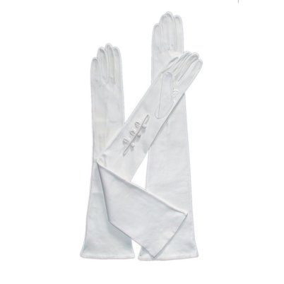 Italian Silk Lined 16-Button Length White Leather Bridal Gloves By Fratelli Orsini | Free USA Shipping at Leather Gloves Online