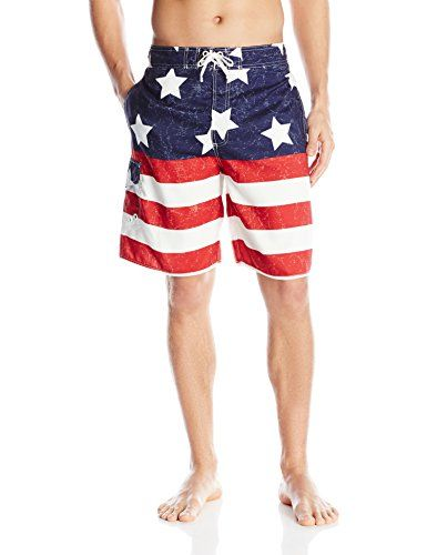 6fe6a3dfe89 Balboa Mens American Flag Swim Trunks RedWhiteBlue Large ** Continue to the  product at the image link.
