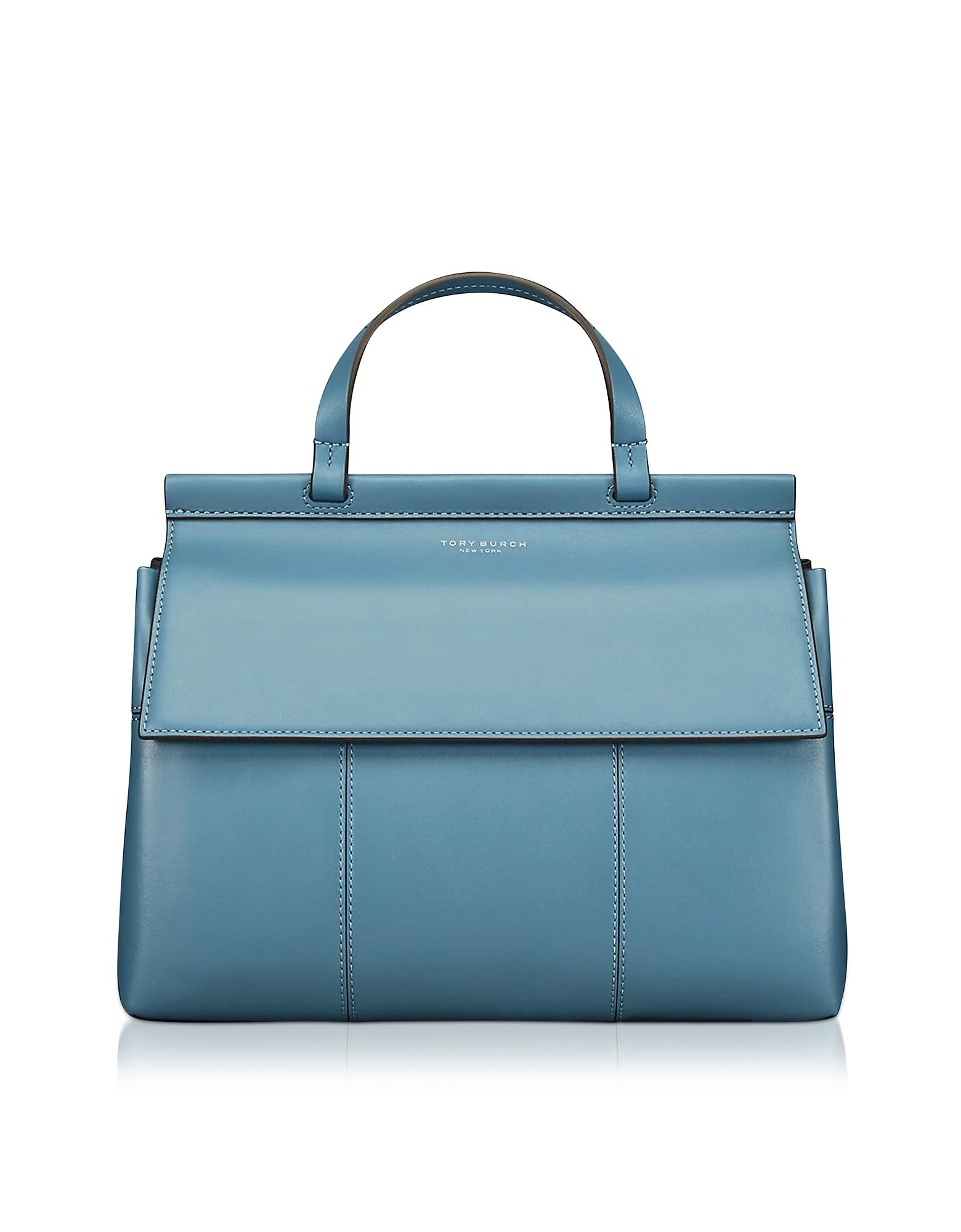 9fb15602fe6b TORY BURCH BLOCK-T BLUE YONDER FIG LEATHER TOP HANDLE SATCHEL BAG.   toryburch  bags  leather  lining  satchel  shoulder bags  hand bags  silk