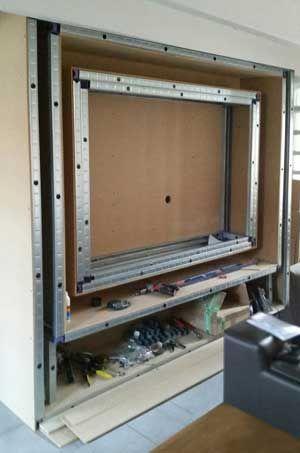 Fabriquer Meuble Tv Bandeau Led 2 Com Imagens Projeto Da Parede Tv Decoracao Em Gesso Drywall