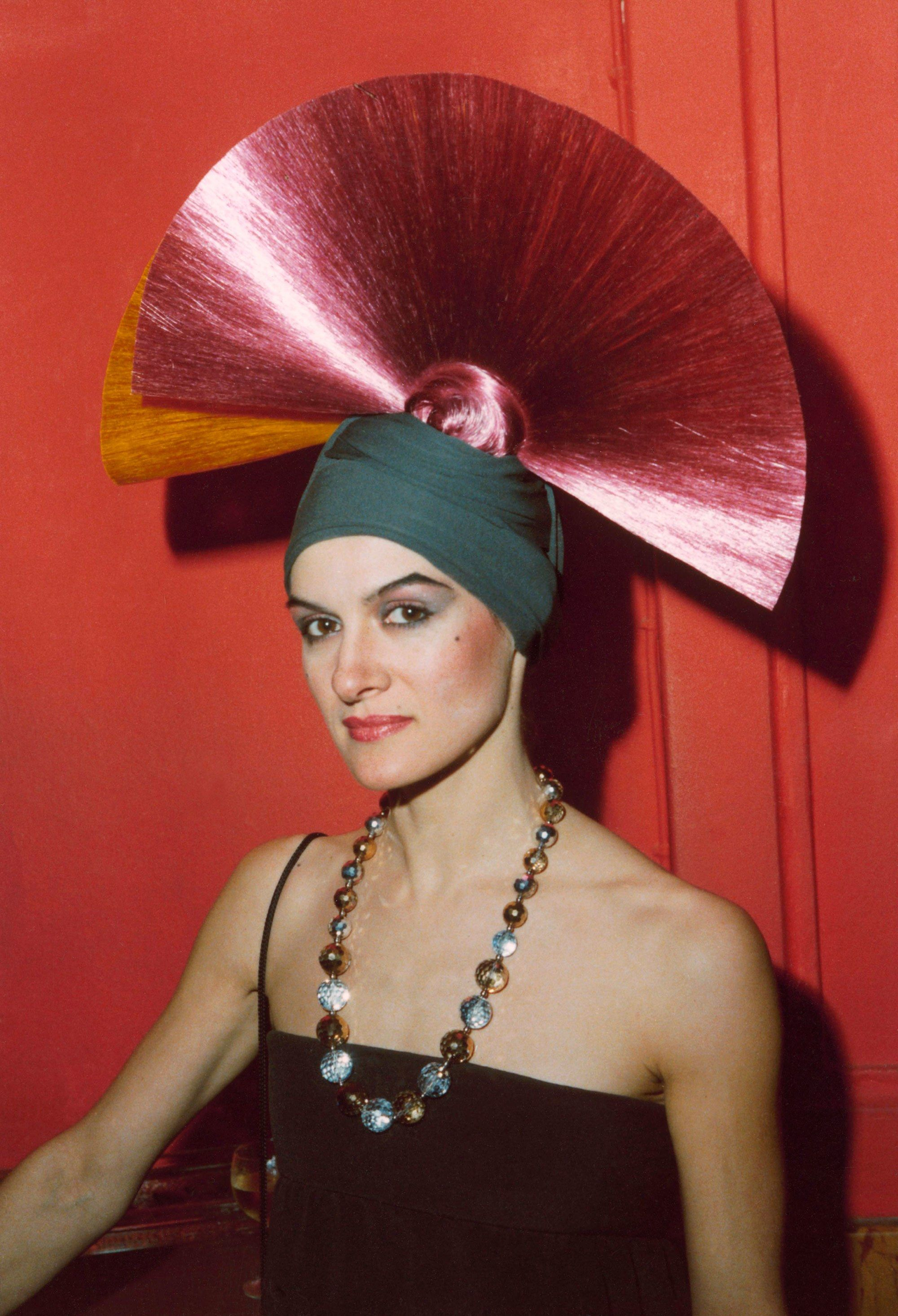 Paloma Picasso Paloma Picasso Wearing The Only Headscarf With Hair Fans Peeking