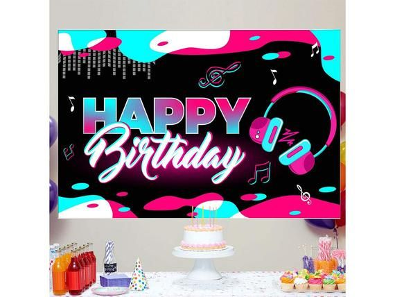 Musical Themes Happy Birthday Backdropbirthday Yard Signtik Etsy In 2021 Birthday Backdrop Birthday Yard Signs Happy Birthday Printable