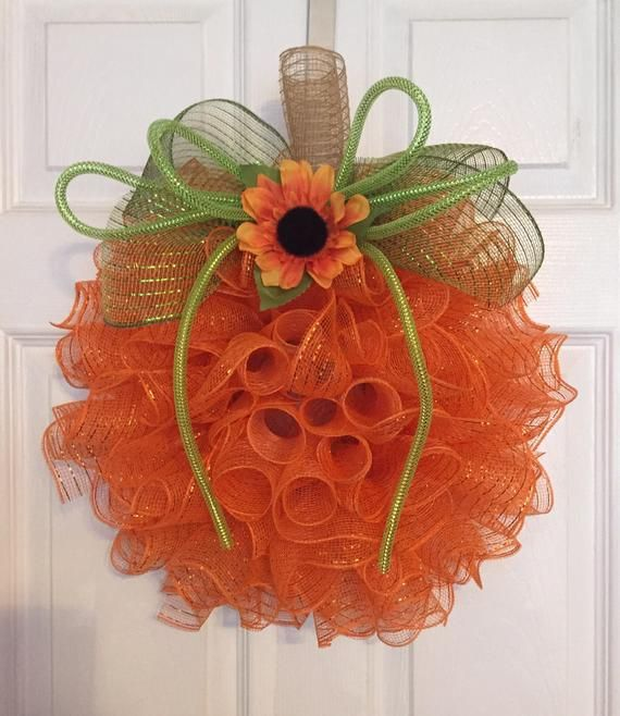 17 Fall/Autumn Deco Mesh Orange Pumpkin Wreath with Sunflower