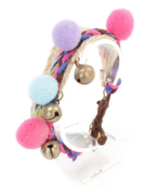 Rainbow Braided Bell Accent Bracelets for Women