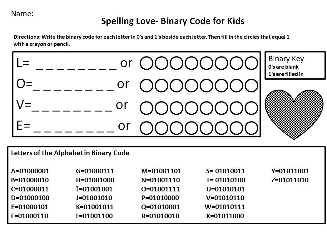 Binary Code For Kids Worksheet Spelling Love Jdaniel4s Mom Coding For Kids Worksheets For Kids Coding [ 759 x 1047 Pixel ]