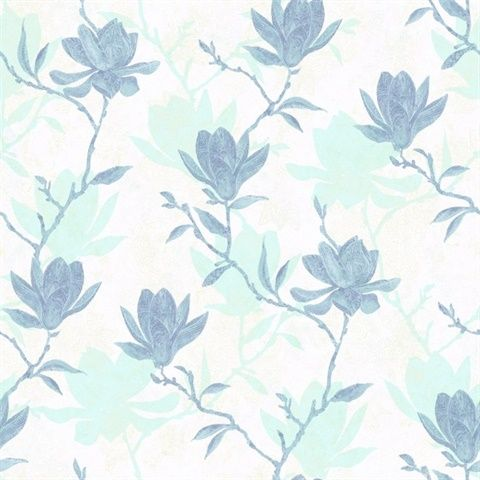 Magnolia Silhouette Transitional wallpaper, York