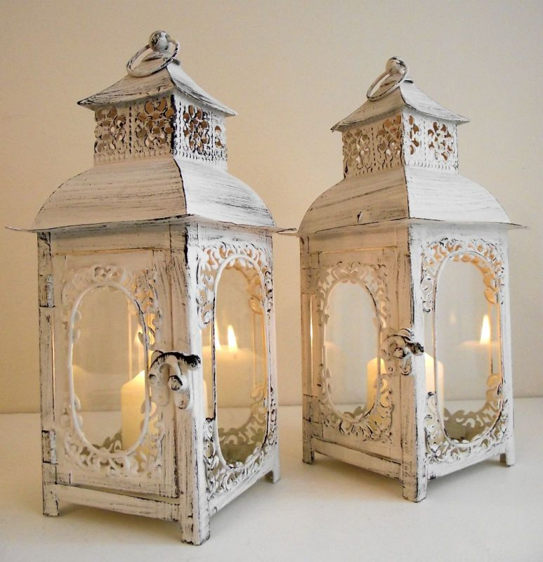 PAIR OF SHABBY CHIC CHALK WHITE ANTIQUE STYLE CANDLE LANTERNS 29CM FREE CANDLES | eBay