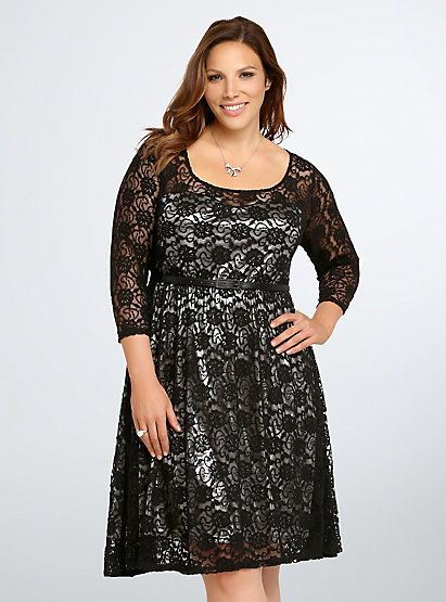 Metallic Illusion Lace Skater DressMetallic Illusion Lace Skater Dress, BLACK