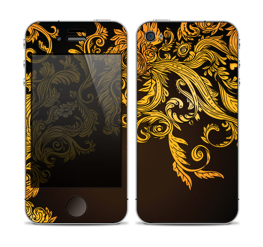 The Gold Floral Vector Pattern on Black Skin for the Apple iPhone 4-4s