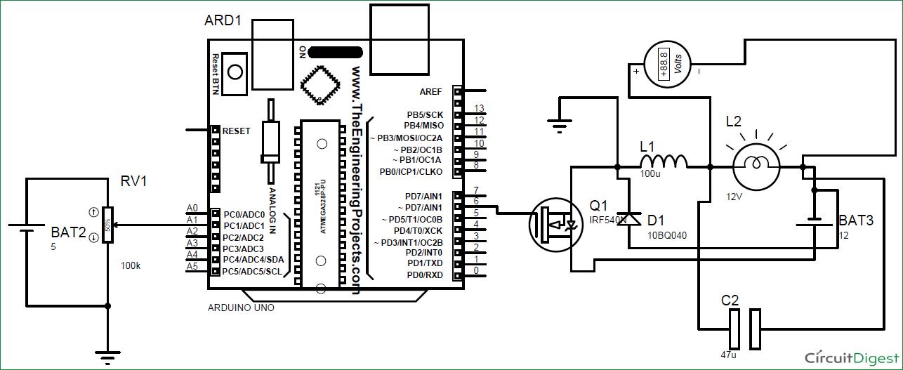 DC-DC Buck Converter circuit diagram using arduino