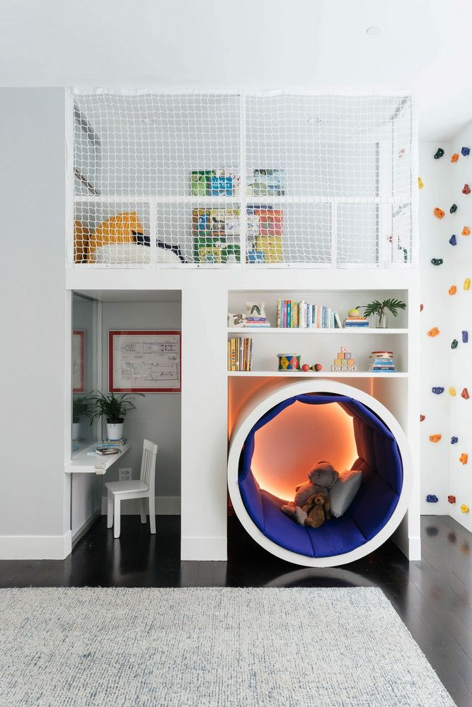 Cute modern and grown up version of a kid's room with small splashes of color
