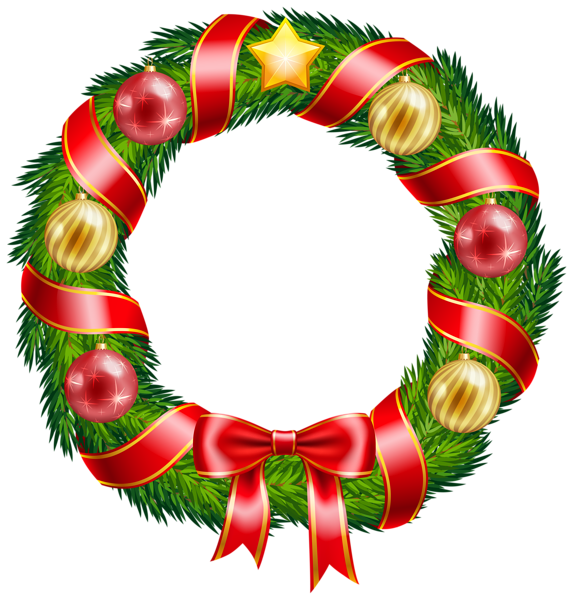 Christmas Wreath with Ornaments and Red Bow Clipart PNG