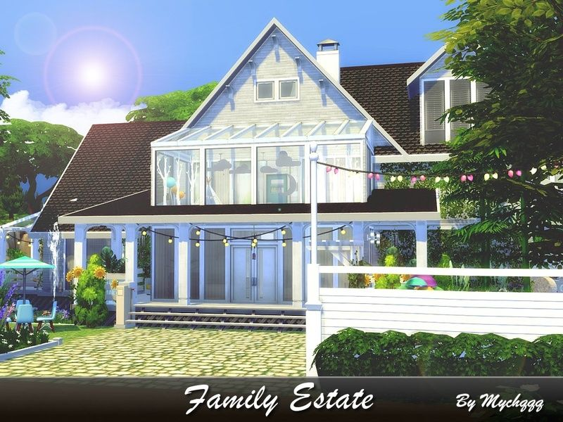 Cozy Family Modern House Built On 40x30 Lot In Willow Creek Found In Tsr Category Sims 4 Residential Lots Family Estate Sims House Sims 4