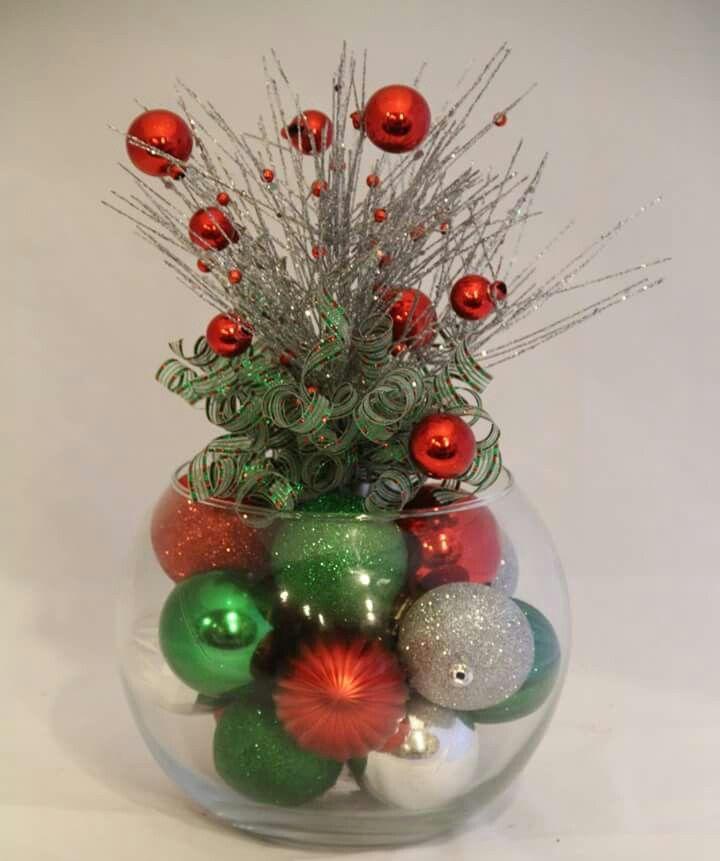 Ideal para centro de mesa un bowl de cristal grande for Adornos de oficina para navidad