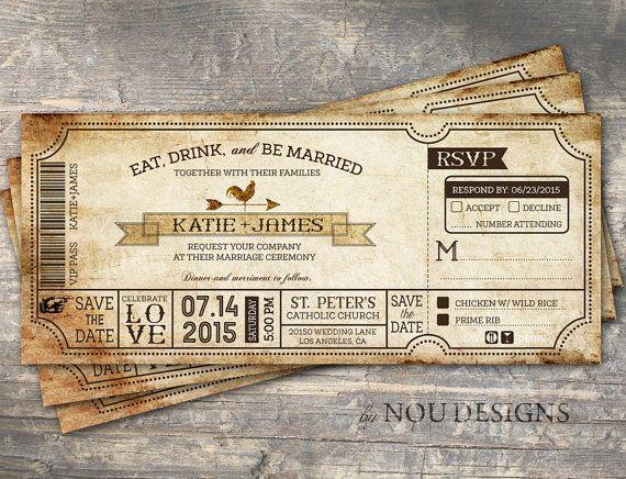 Vintage Boarding P Ticket Country Western Bridal By Noudesigns