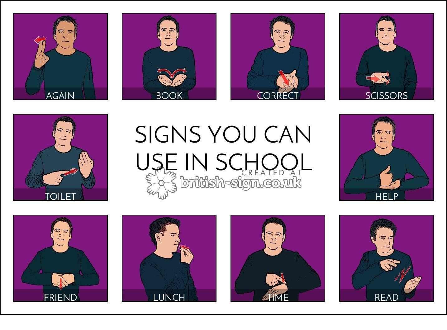 School Signs - British Sign Language (BSL) | Learn sign language ...