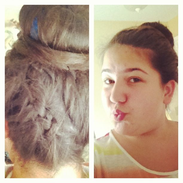 Created a French braid going up into a bun❤