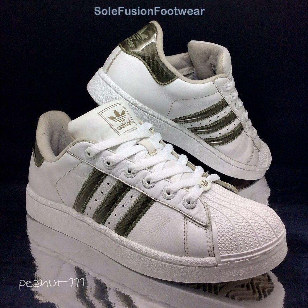adidas superstar formatori bianco / nero fatto raro metallo sz