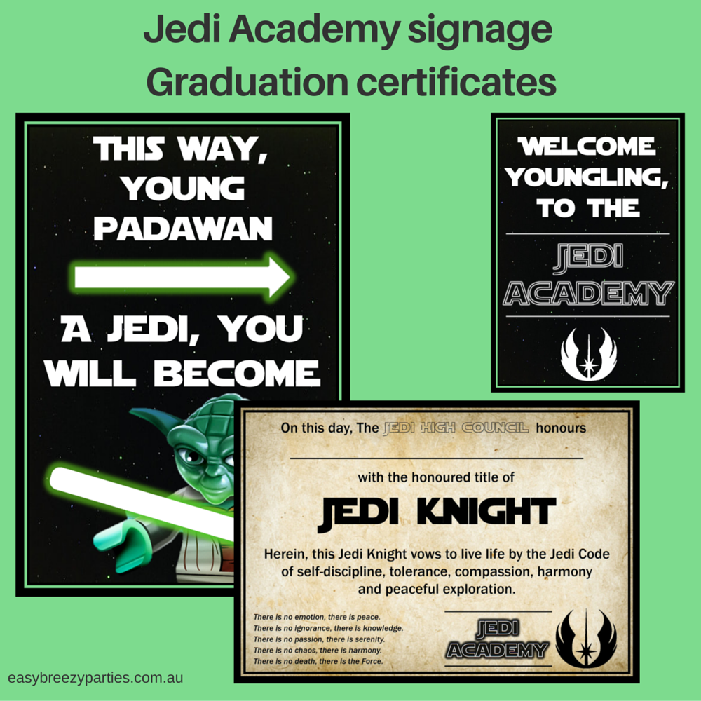 Printable Jedi Training Academy Graduation Certificate And Posters
