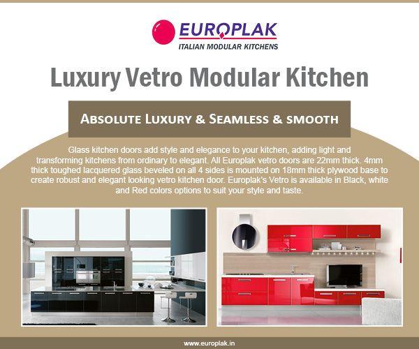 luxury vetro modular kitchen for more details visit httpwwweuroplak