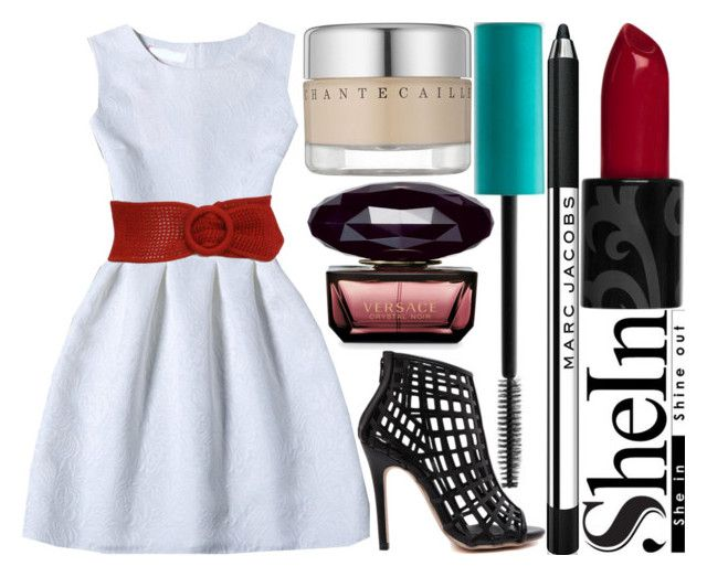 """""""red crystals"""" by silent-killer ❤ liked on Polyvore featuring Urban Decay, Chantecaille and Versace"""
