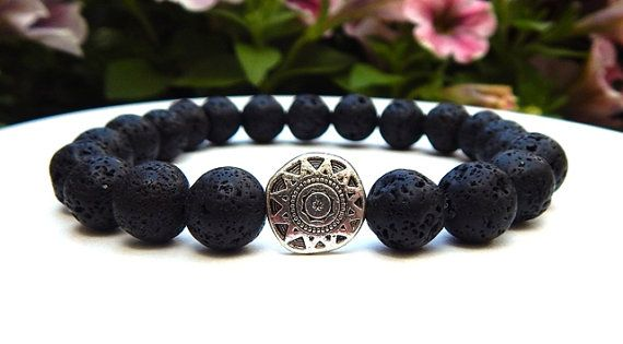 product lava bracelet silver head cute frosted wolf animal bear jewelry antique brand men black fashion volcano stone