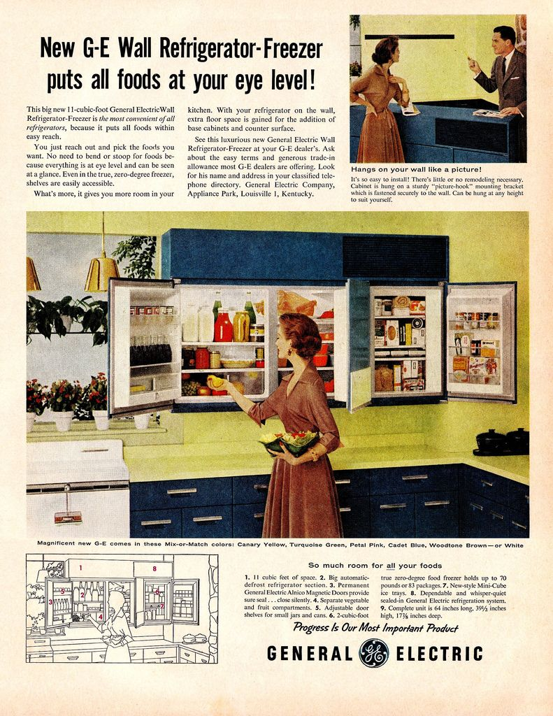 Ge Wall Mounted Refrigerator Freezer Why Did This Concept Not Take Off I Love It Vintage Appliances Weird Vintage Cool Kitchen Gadgets