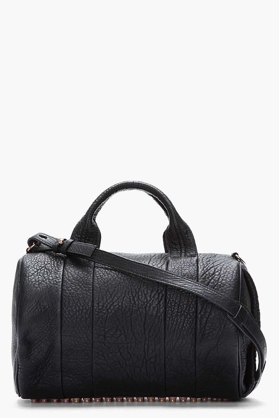 Womens black leather duffle bag