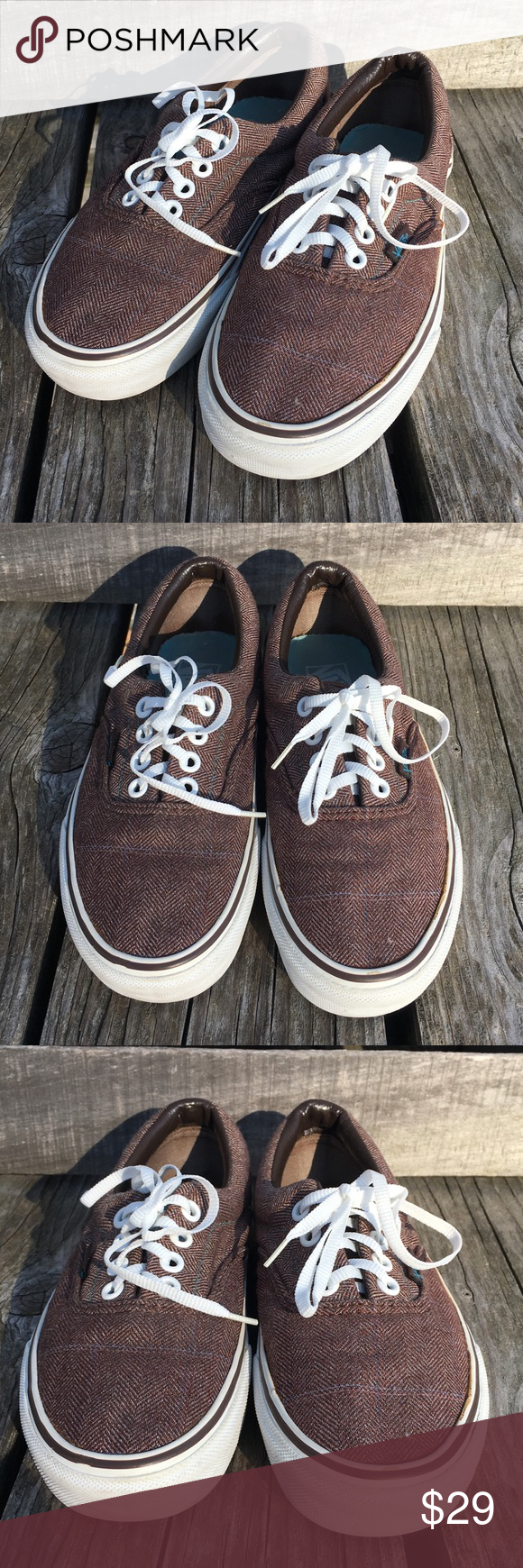 83d3b4483e 🆕List! Brown Herringbone Vans! EUC! Like new condition! New laces added