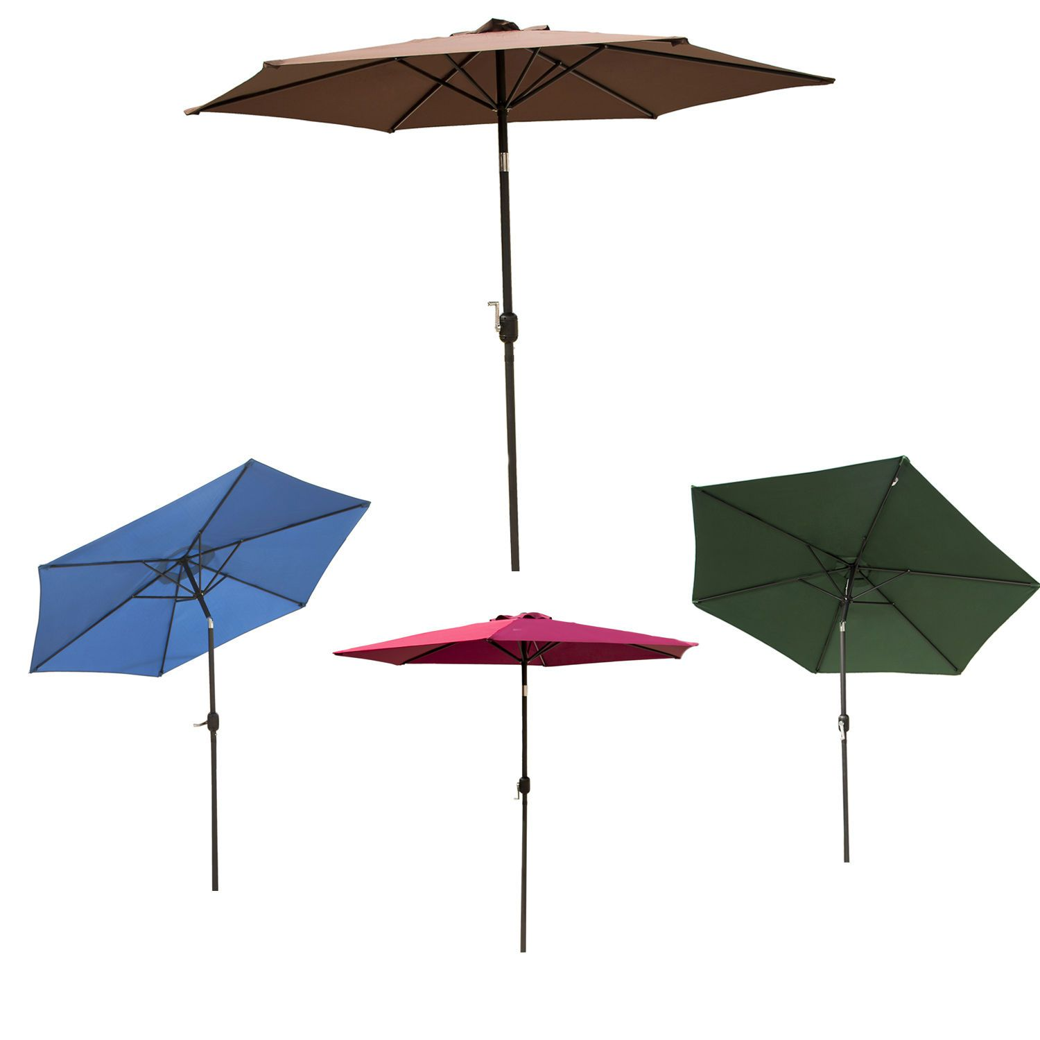 8/9/10ft Outdoor Patio Umbrella Canopy Shelter 6 Ribs Multi  Color Tilt