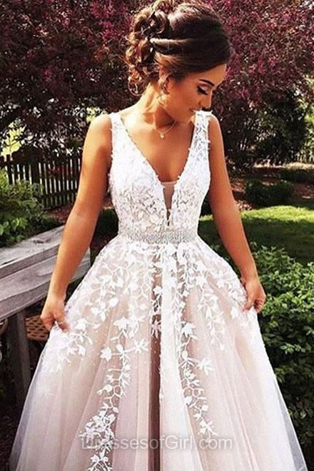 92ddc19a9a6 Sexy Deep V Neck A-line Long Prom Dress