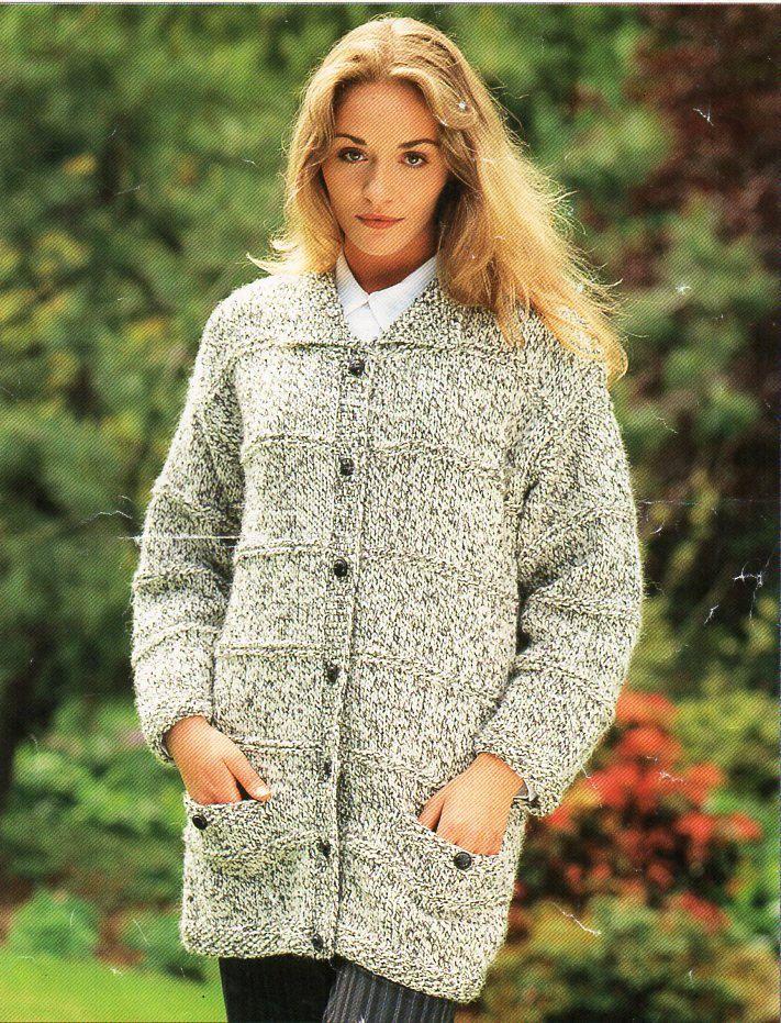 ladies jacket knitting pattern PDF womens long cardigan with collar ...
