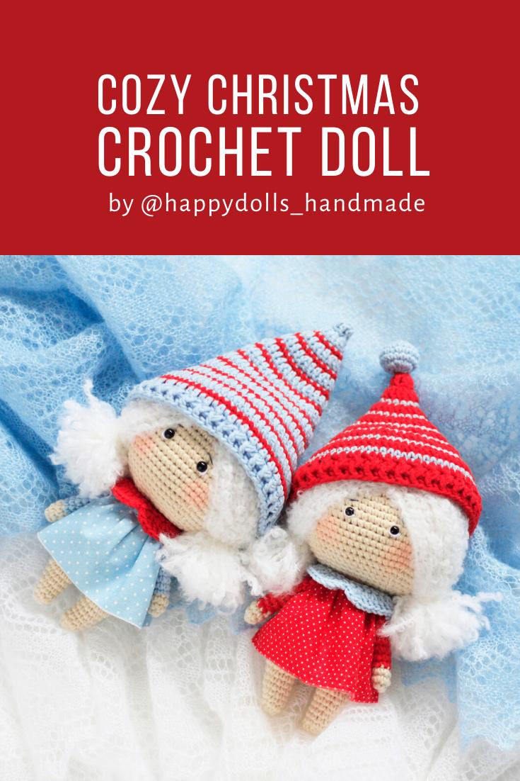 CROCHET PATTERN Christmas Doll, Amigurumi doll, gift for her, birthday gift #instructionstodollpatterns