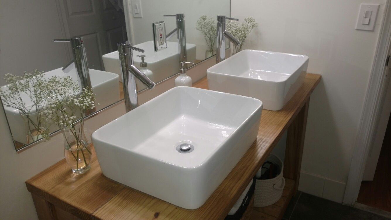 Vessel sink and faucet. Modern farmhouse style bathroom