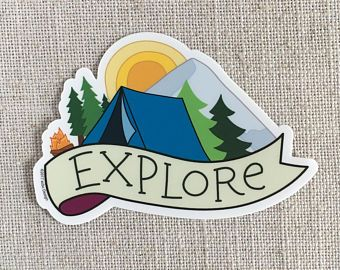 Explore Vinyl Sticker Camping Ilrated Per Water Bottle Fun Laptop Cute Waterproof