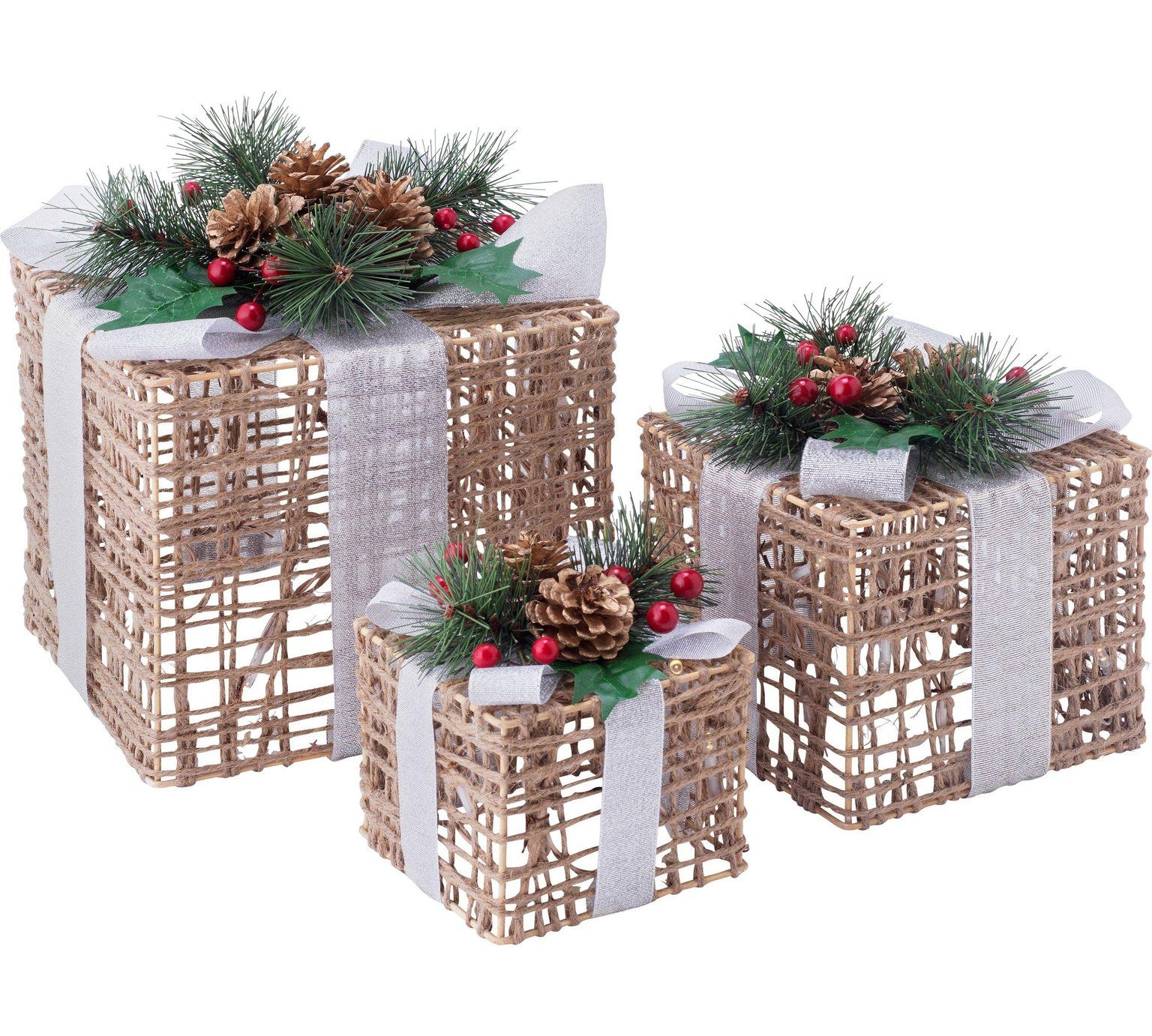 Buy Set Of 3 Christmas Light Up Wicker Boxes At Argos Co Uk Your