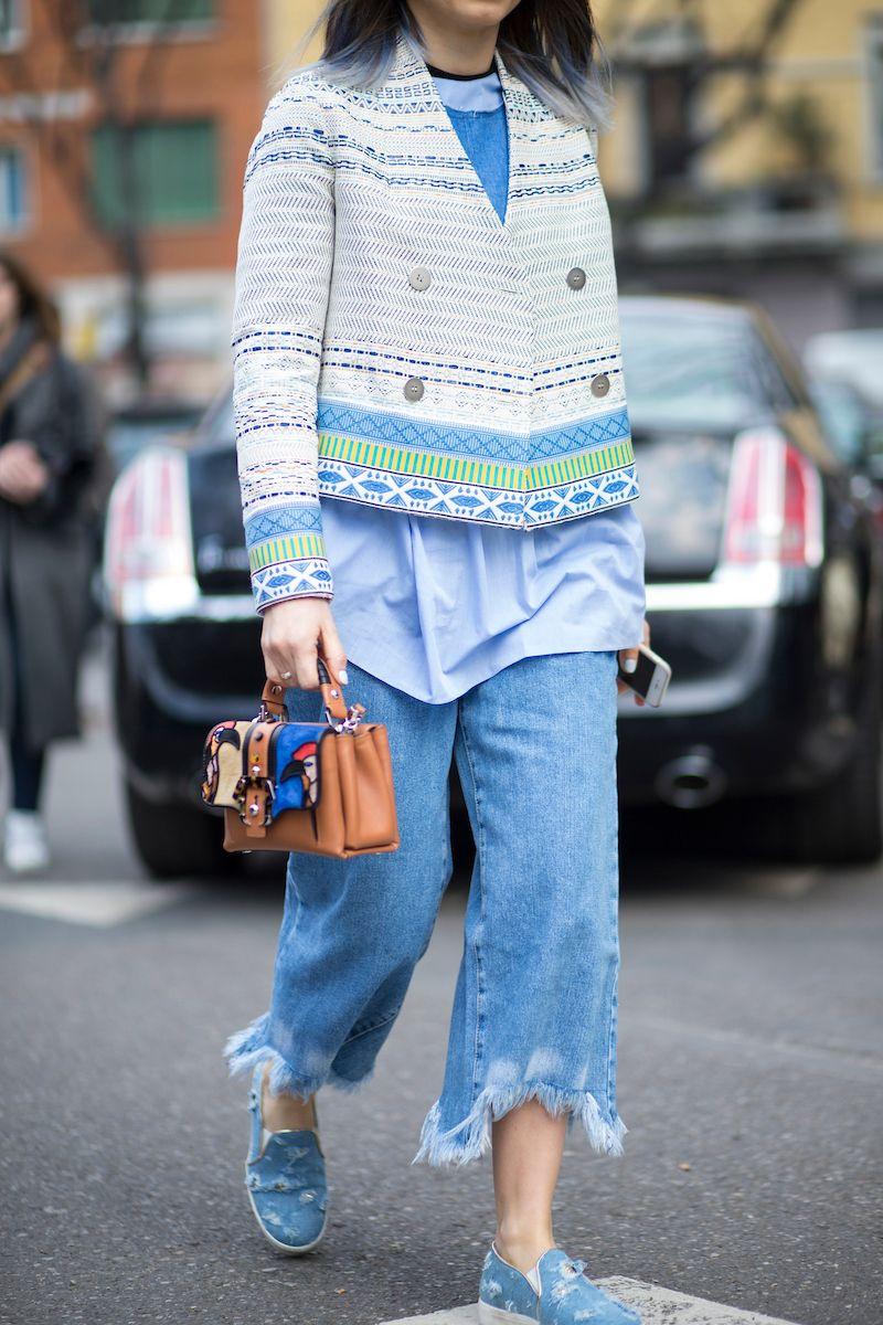 Trend Alert: Jeans é super tendência para o verão 2017!   Street Style Milão…