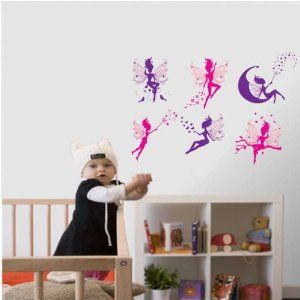 Peel N' Stick Fairy Princess Pink and Purple Wall Decal Sticker for Nursery Room