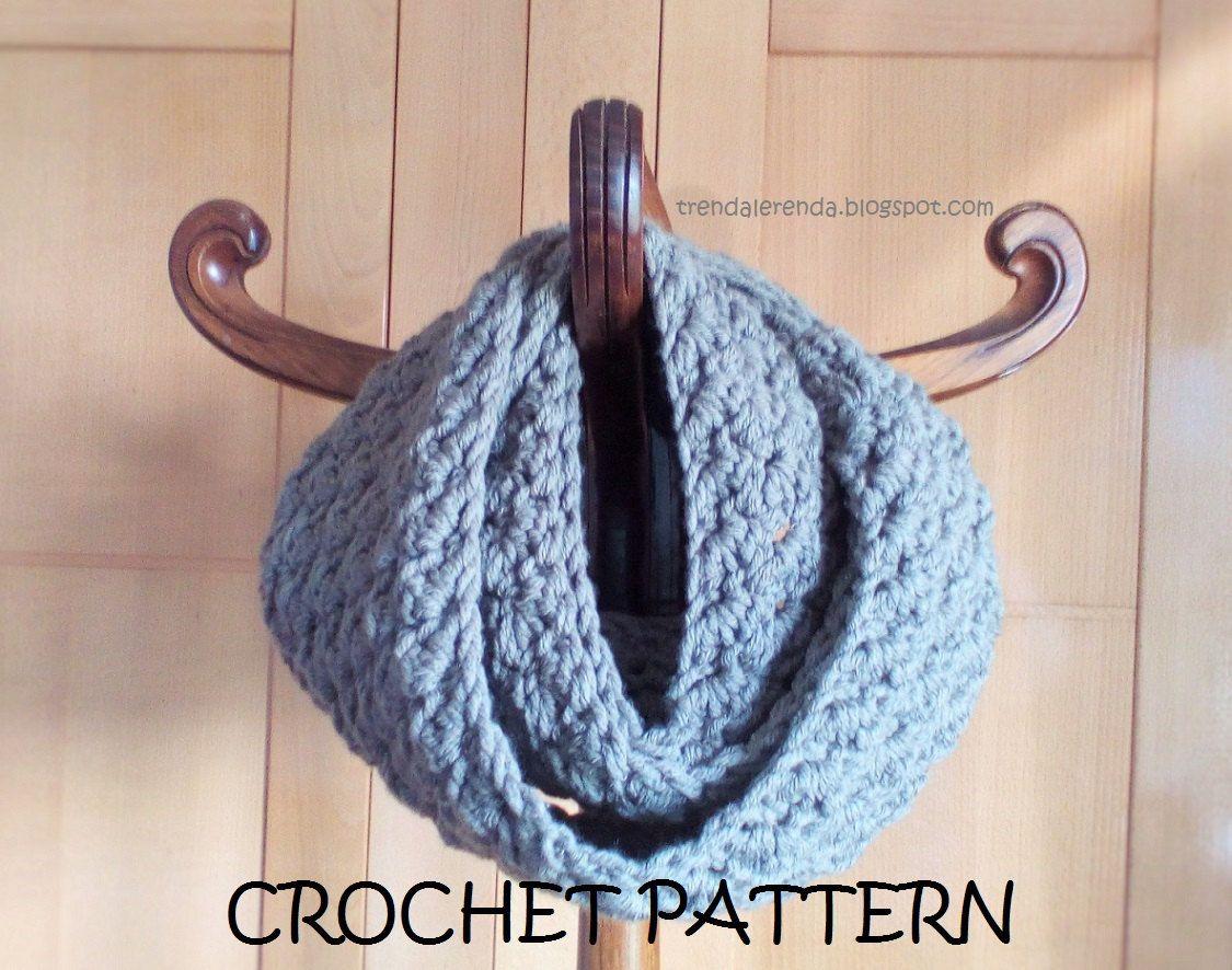 Patrón de crochet bufanda infinita reversible, larga, fácil, con ...