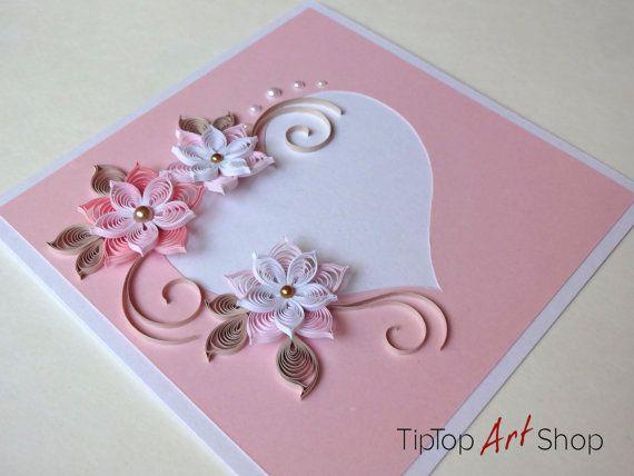 Papier Quilling Karte zum Hochzeitstag von TipTopArtShop auf Etsy #heartdetail