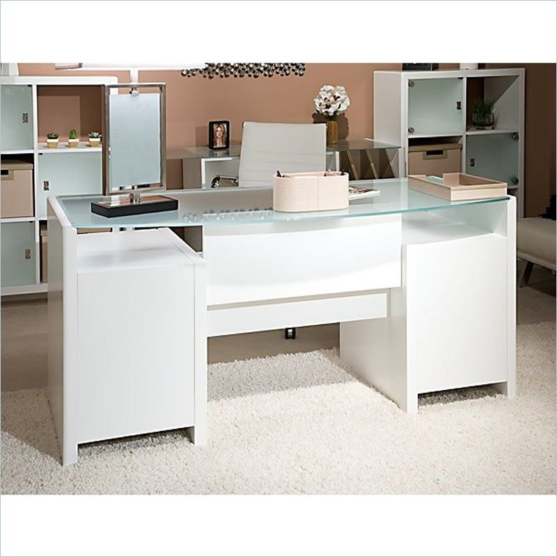 Kathy Ireland Office By Bush Furniture New York Skyline Bow Front Double Pedestal Desk With Reversible Frost Gl Desktop Plumeria White