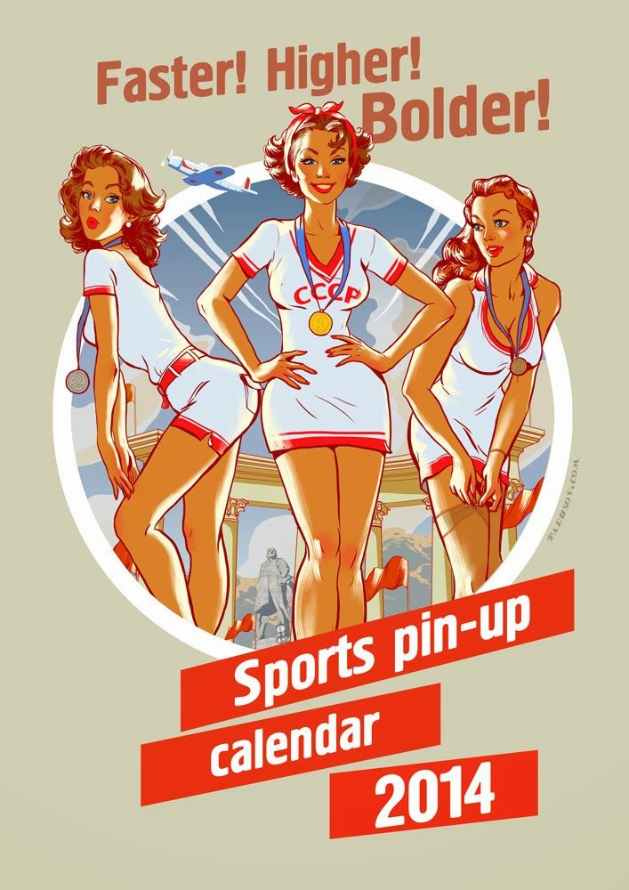 Image result for sport pin ups bgl pinup design pinterest soviet sports pin up calendar 2014 made by russian illustrator andrew tarusov thecheapjerseys Images