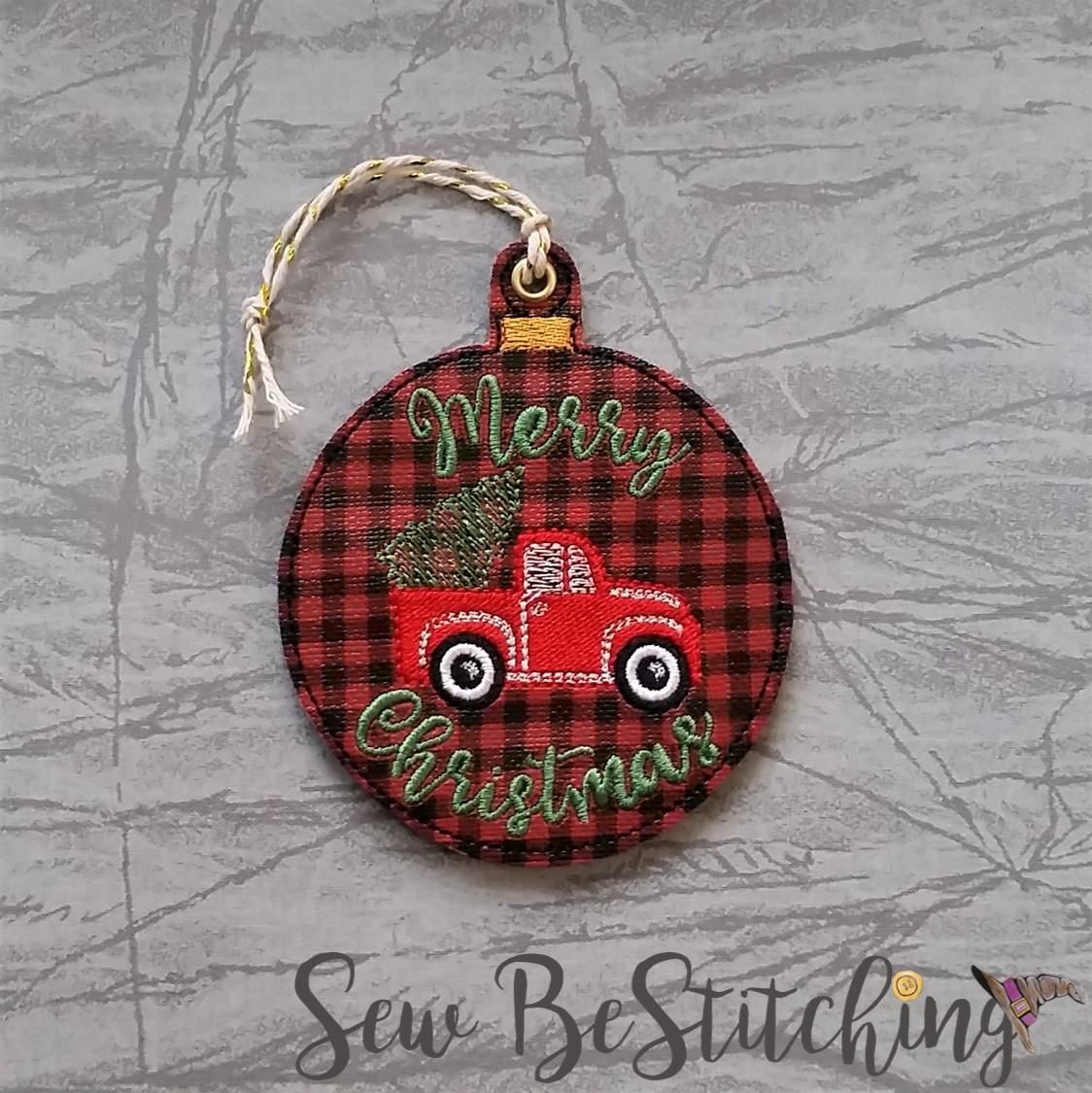 Merry Christmas Truck Ornament Embroidery Design Digital File Machine Embroidery Christmas Embroidery Designs Machine Embroidery Christmas Ornaments