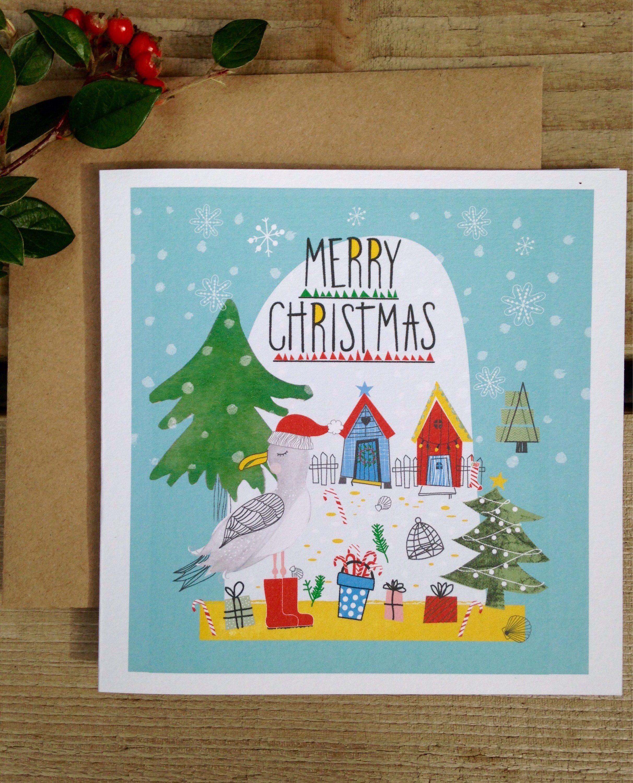 Coastal Christmas Card, Beach Hut Christmas Card, Seaside Christmas ...