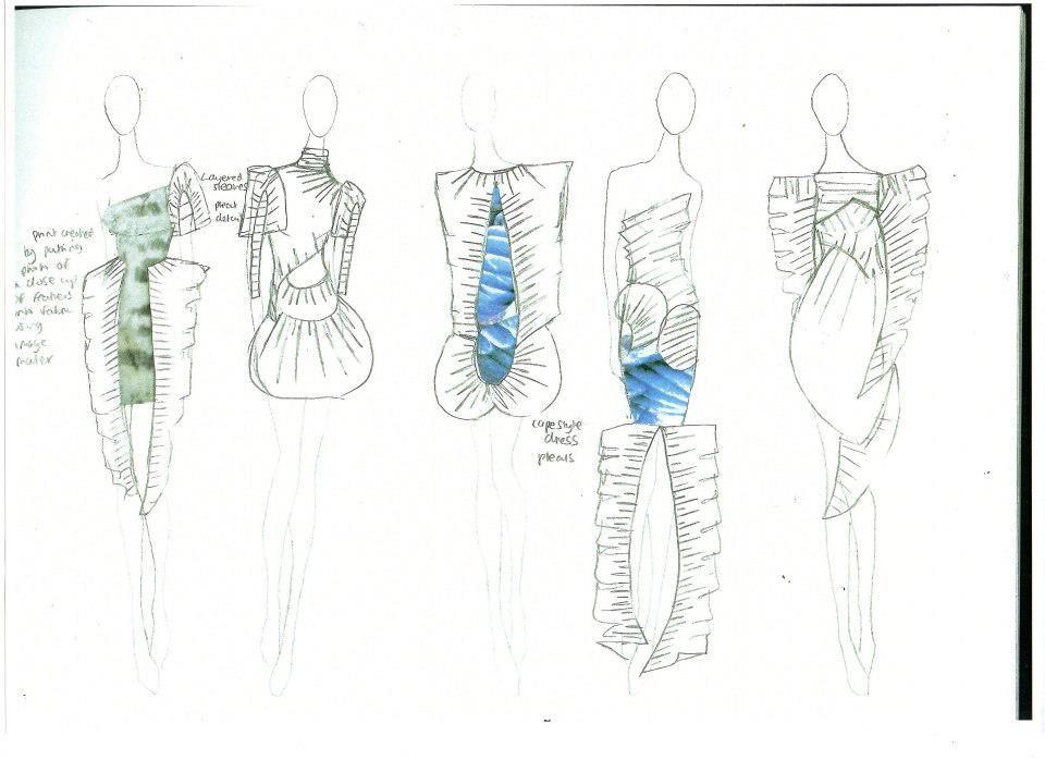 Fashion Sketchbook - fashion design sketches showing pleat development - the design process; fashion portfolio // Laura Sedman
