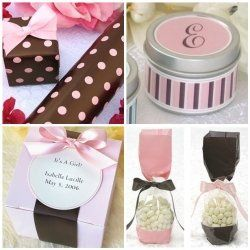 Pink and brown favor boxes, tins and bags